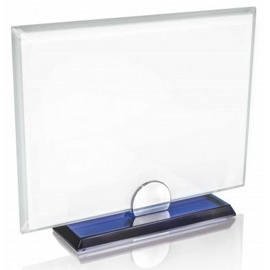 Firkantede glasstatuetter med Blå Detaljer # 140 - 180 mm